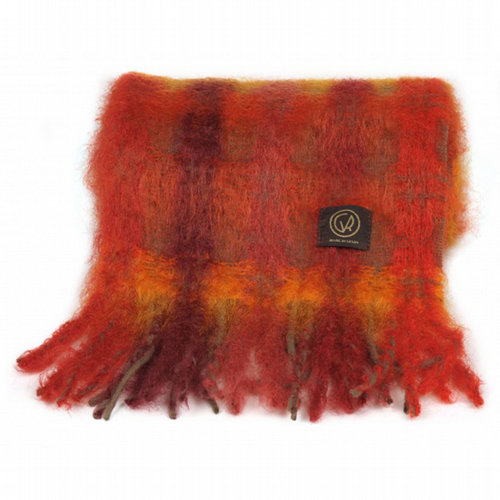 Mohair Scarf - Rich Rust Check